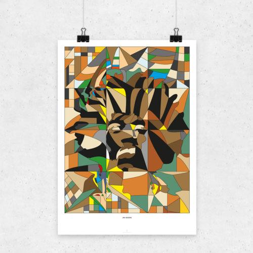 Jimmi Hendrix Glaskunst Plakart